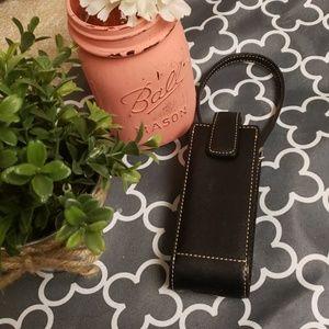 Coach black leather mace holder